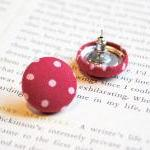 Red Polka Dot Button Earrin..