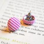 Candy Stripe Button Earring..