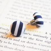 Hello Sailor Button Earrings, Nautical, Navy, White, Striped