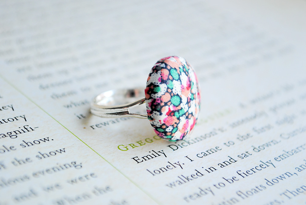 Liberty of London Button Ring, Nickel Free, Pink, Turquoise, Coral, Cream