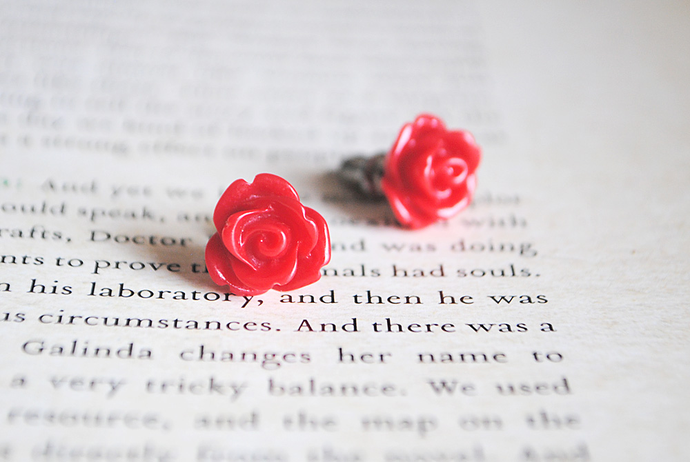Red Rose Stud Earrings, Nickel Free, Flower
