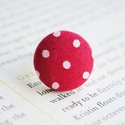 Red Polka Dot Button Ring, Nickel Free, Red, Spotty, Retro, Fifties