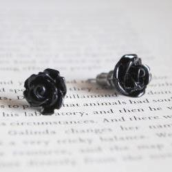 Black Rose Stud Earrings, Nickel Free, Flower